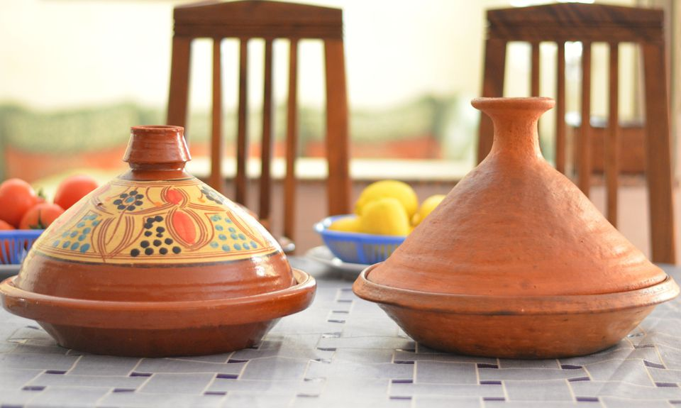 Glazed Ceramic and Unglazed Clay Tagines