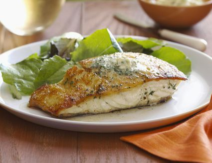 Halibut served with Green Salad and White Wine