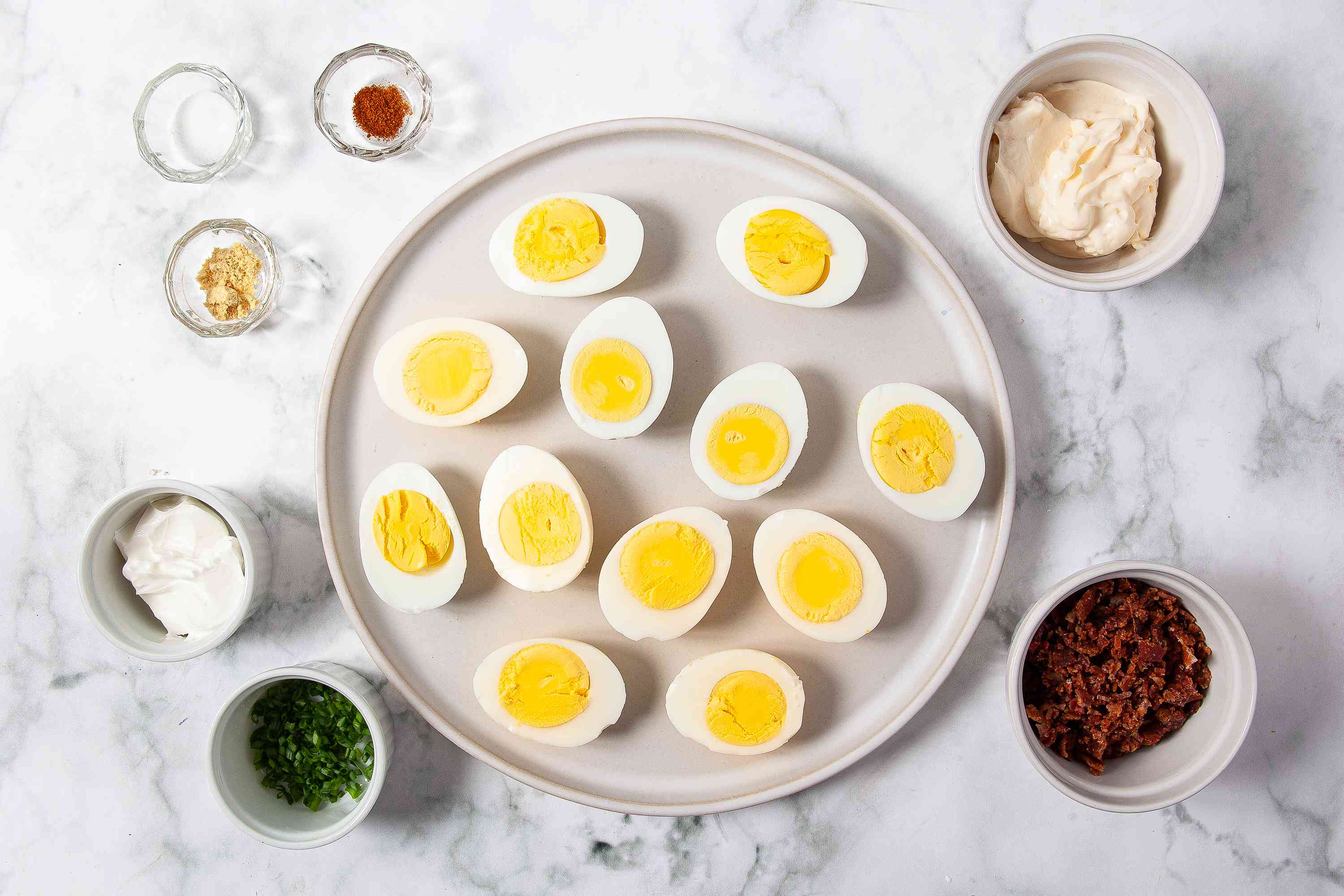 Ingredients for deviled eggs with bacon