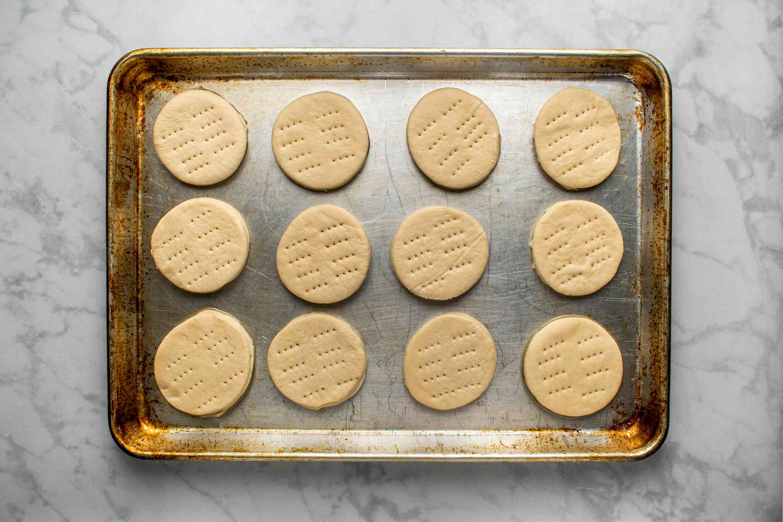 dough circles on a baking sheet