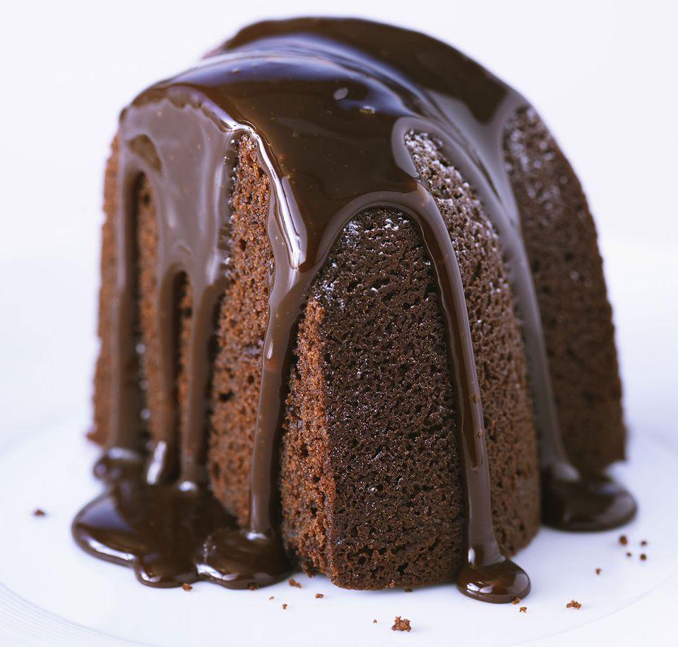 Bundt cake with chocolate glaze