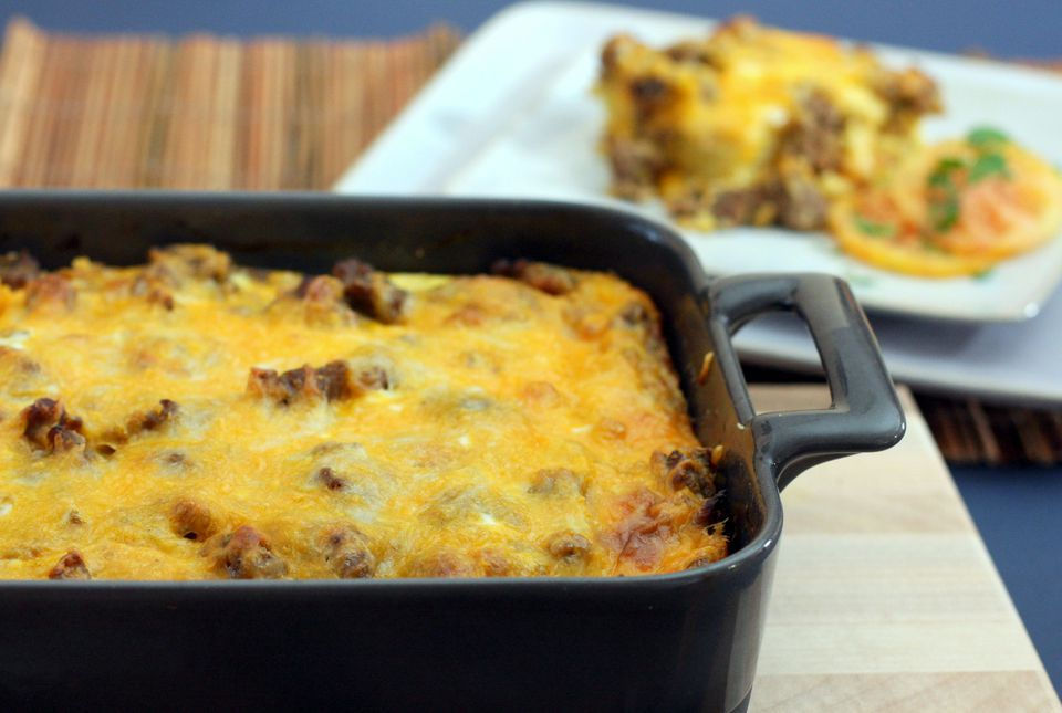 Breakfast Casserole With Sausage, Eggs, and Biscuits