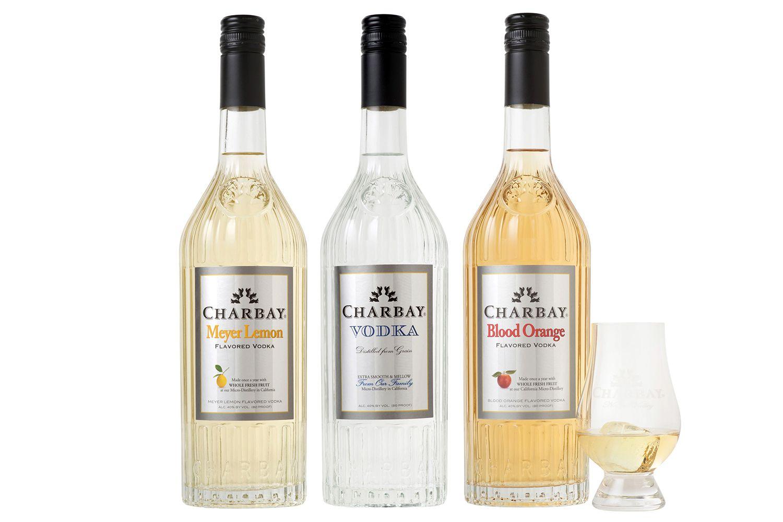 Three bottles of Charbay Vodka - Premium Crafted California Vodka, meyer lemon, regular and blood orange flavors.