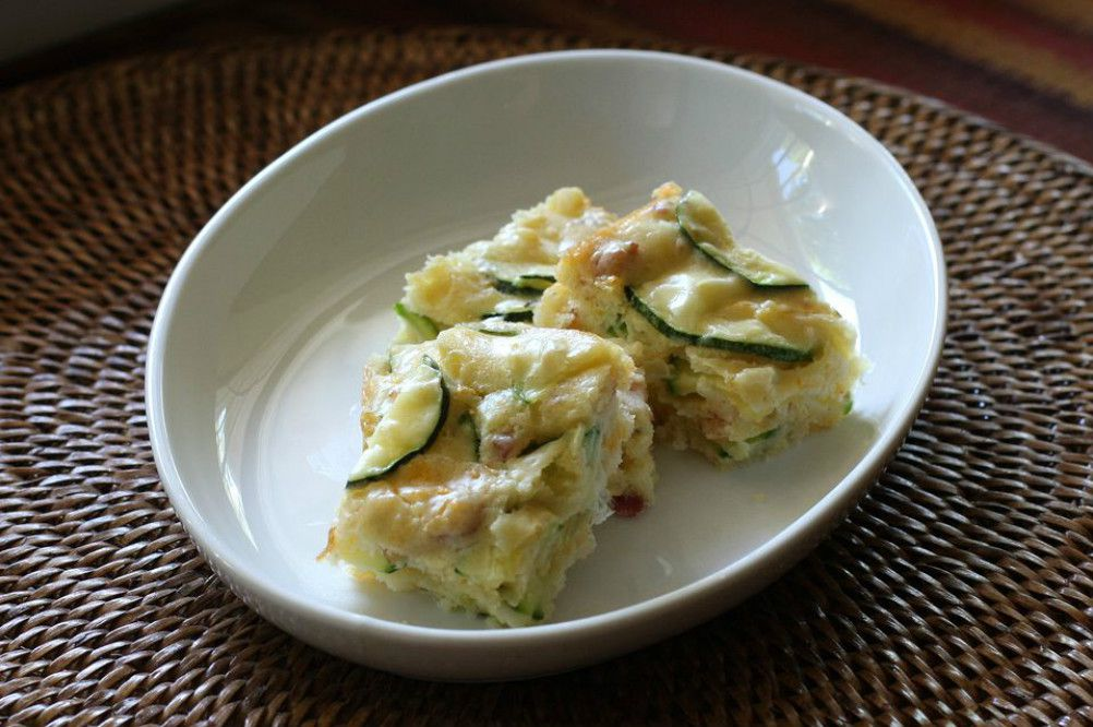 Zucchini Squares With Cheddar Cheese and Bacon