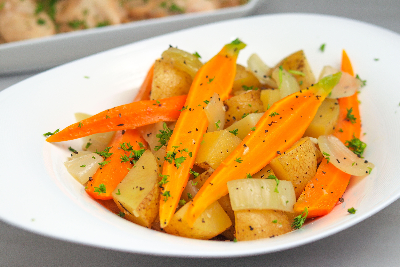 Cooked crock pot vegetables