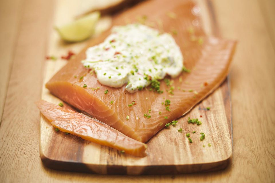 Plate of salmon with sauce