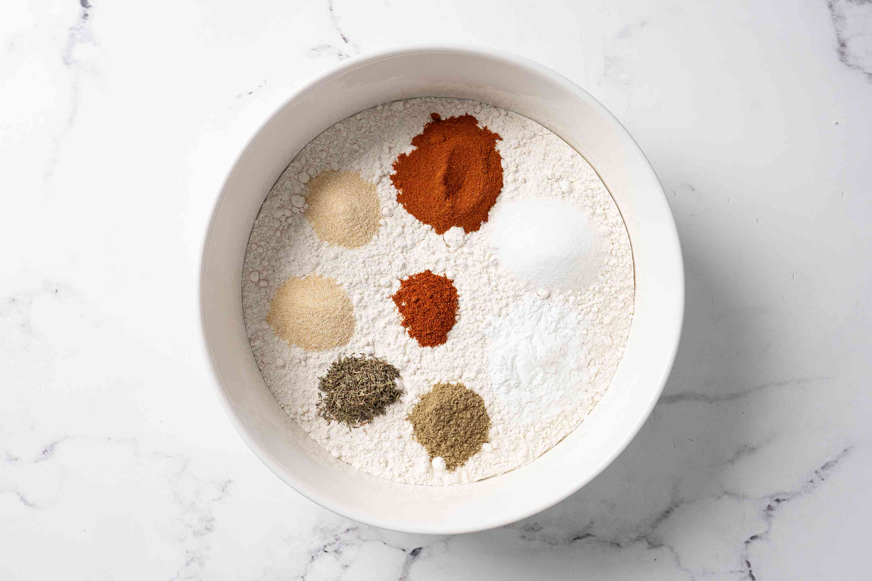 Combine dry ingredients for popcorn chicken