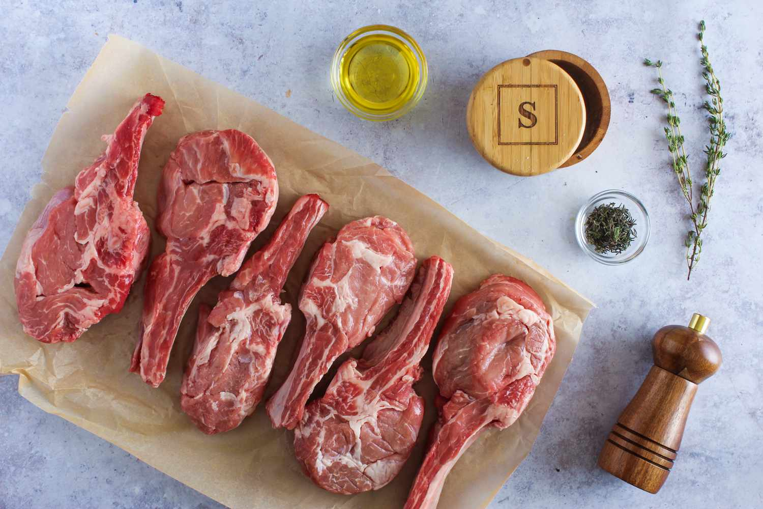 Ingredients for grilled veal chops