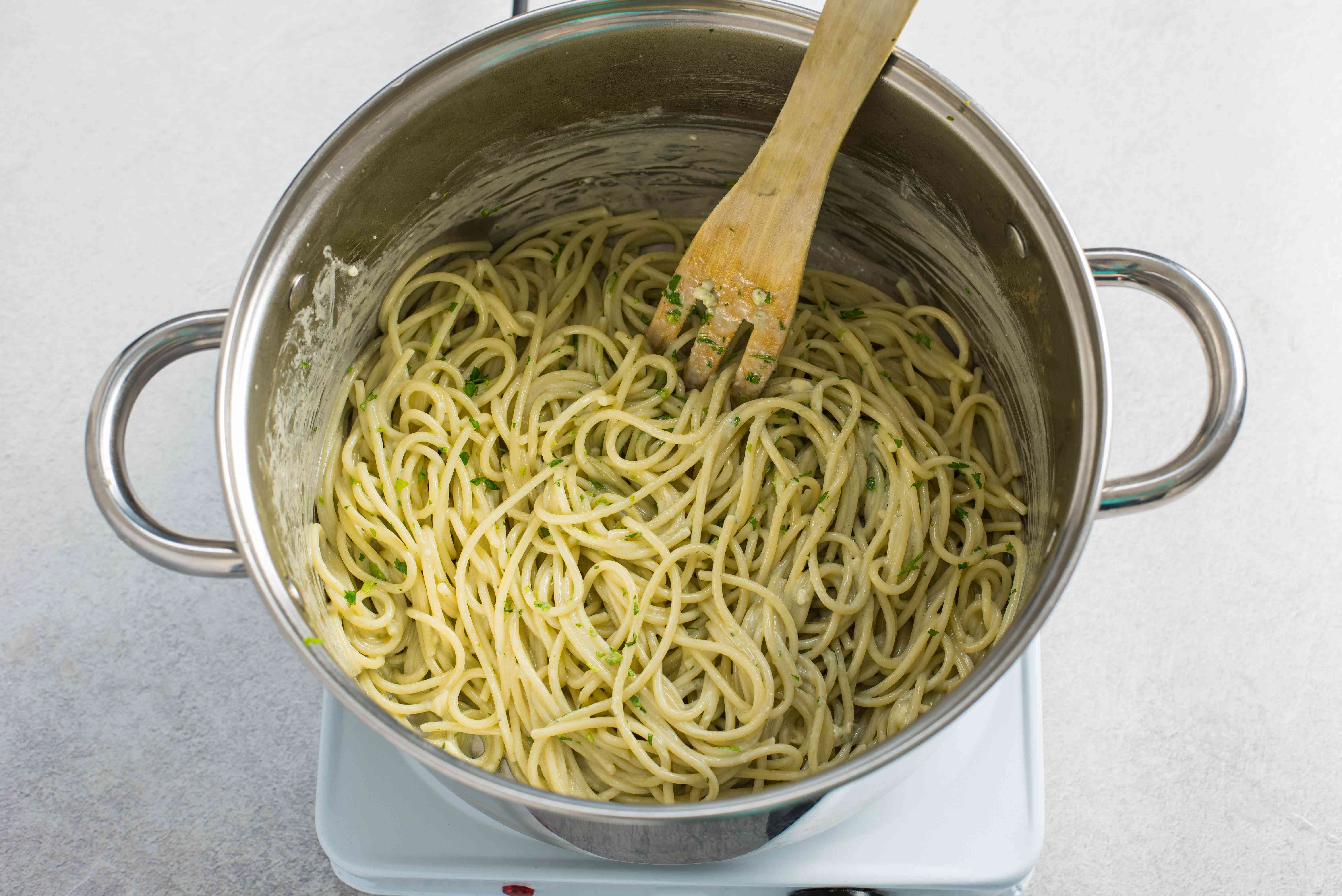 Parsley added to blue cheese pasta