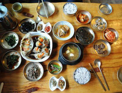 A spread at a Korean restaurant