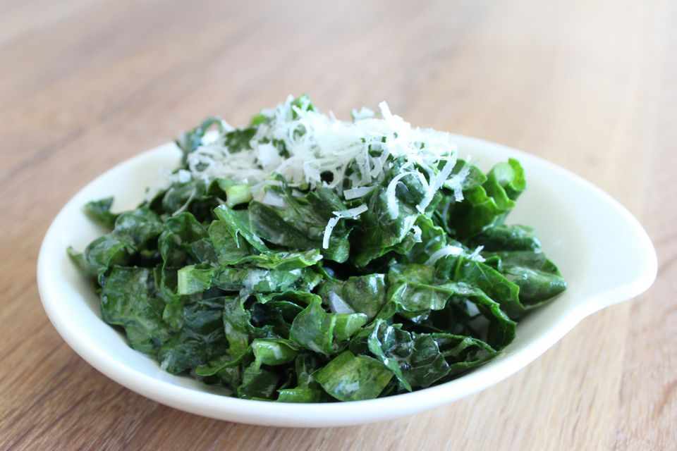 Raw Kale Salad With Grated Cheese and Lemon Dressing