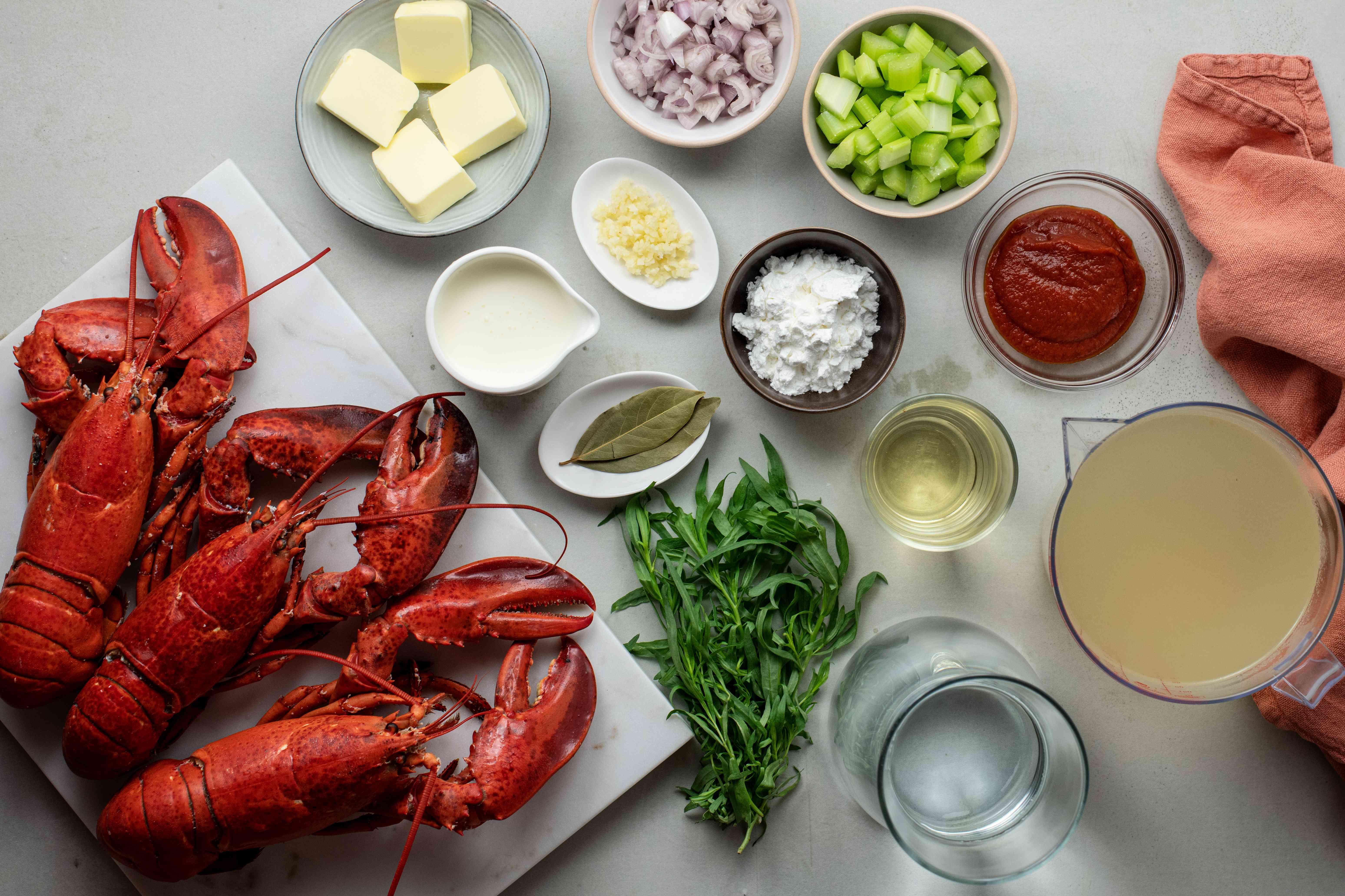Ingredients for lobster bisque