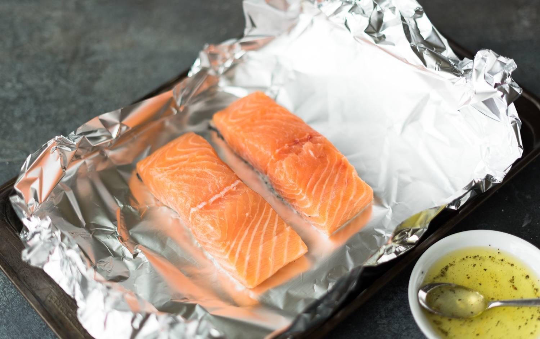 Salmon fillets in foil.