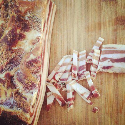 Smoked bacon on cutting board