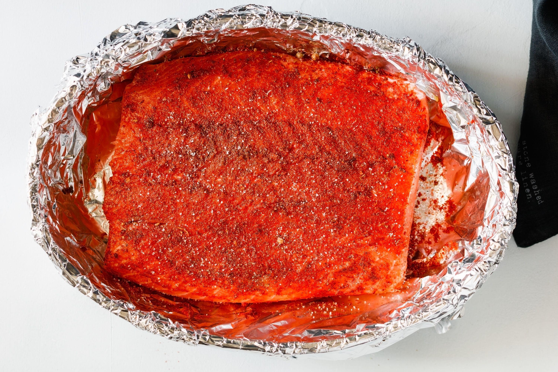 Salmon Fillet on foil-covered baking pan