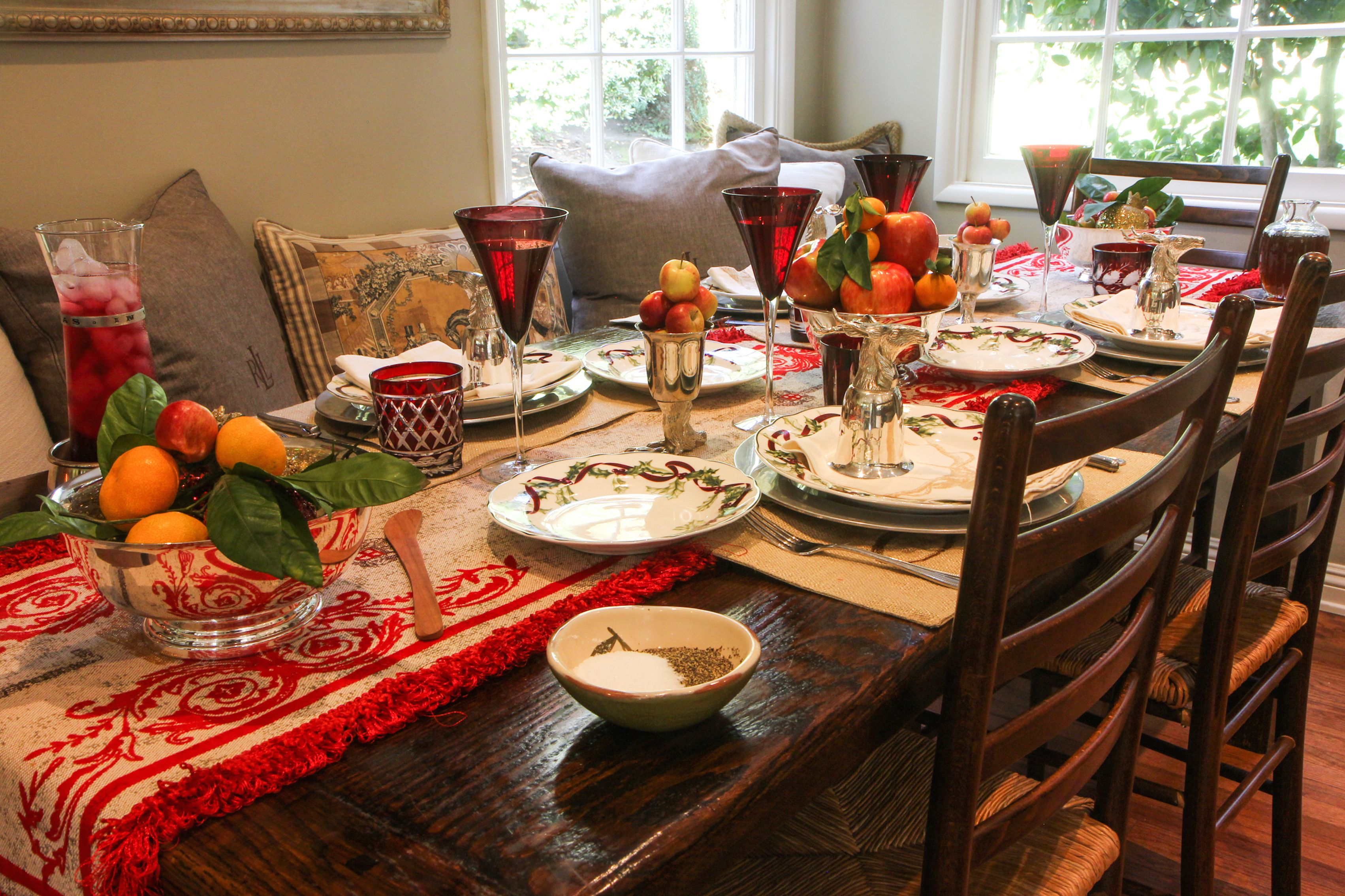 Christmas breakfast in sunny room