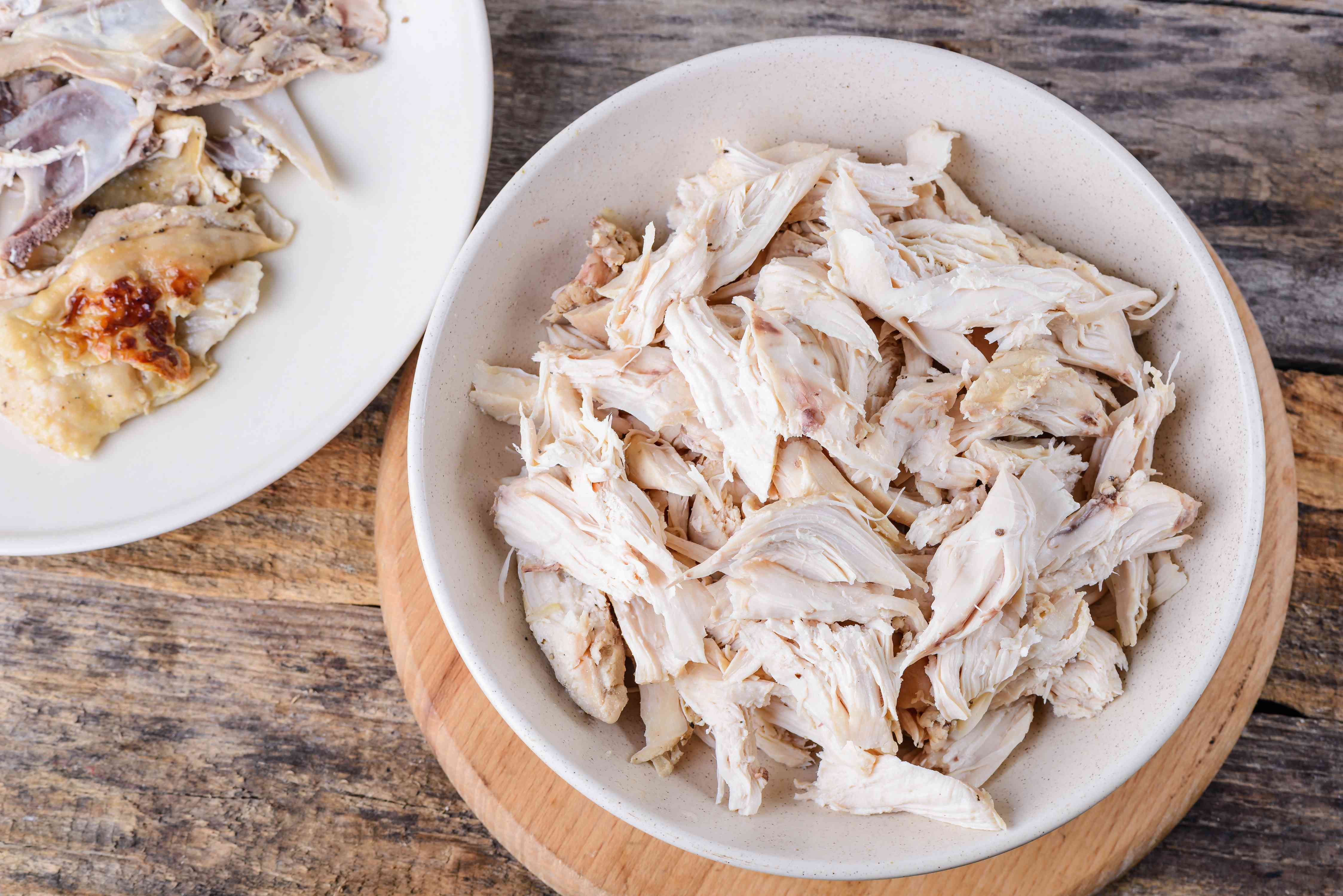 Shredded chicken on a plate