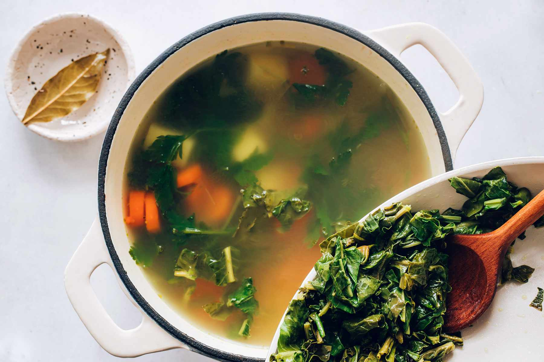 add the sorrel to the pot of soup
