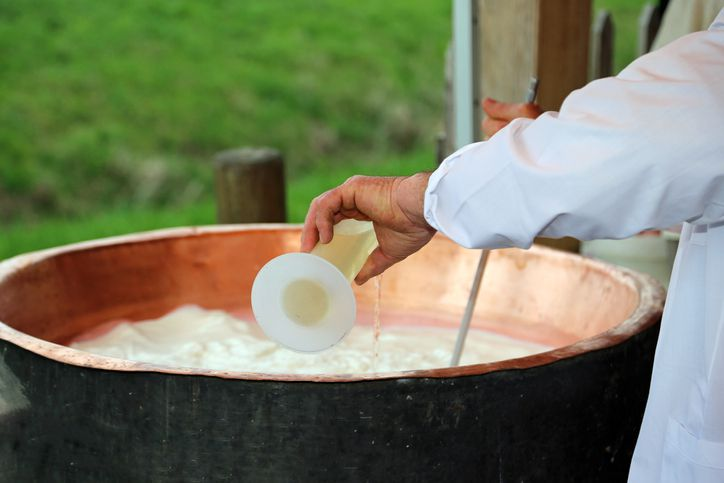Cheesemaker pouring rennet into cauldron