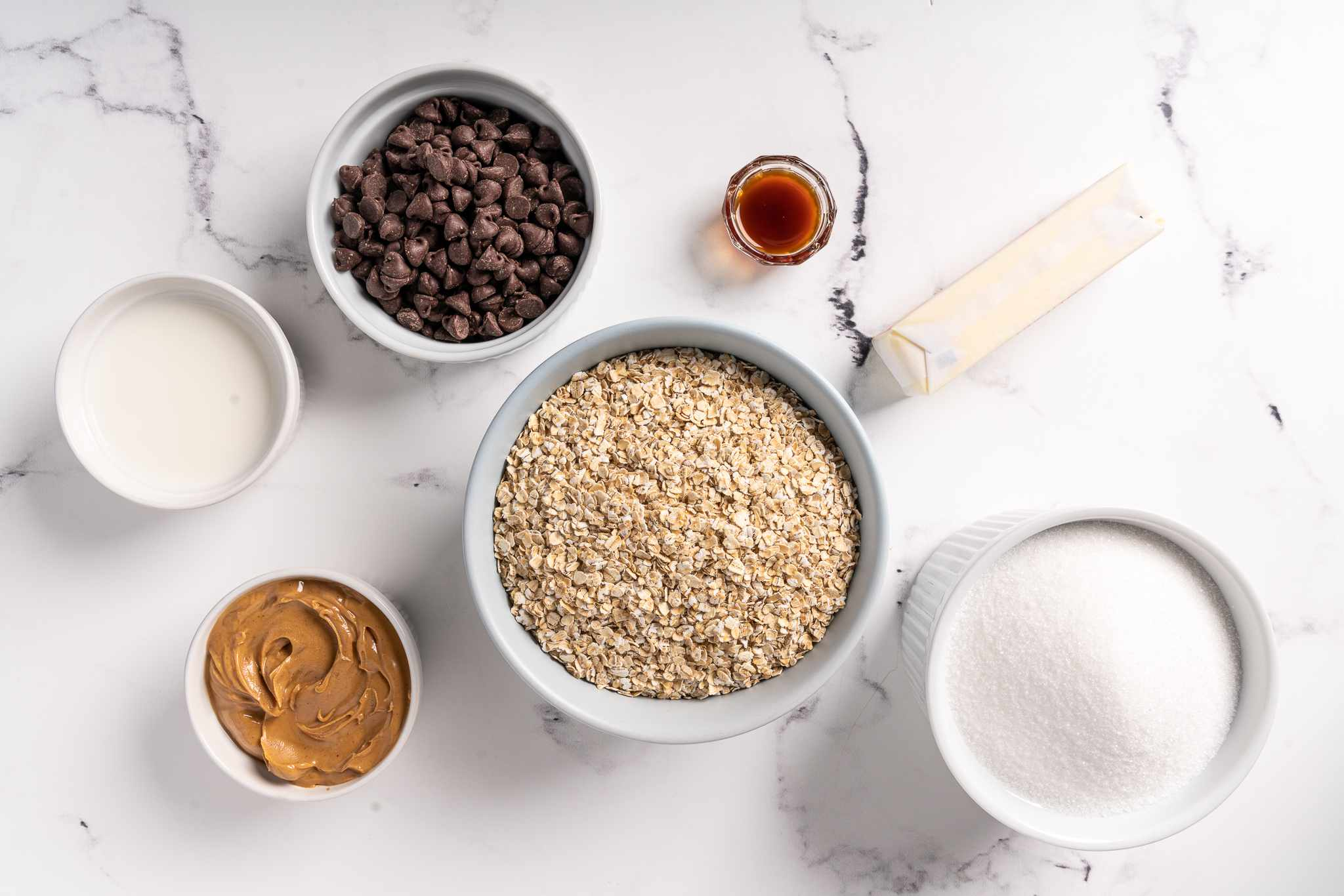 Ingredients for easy gluten-free chocolate oatmeal no-bake cookies