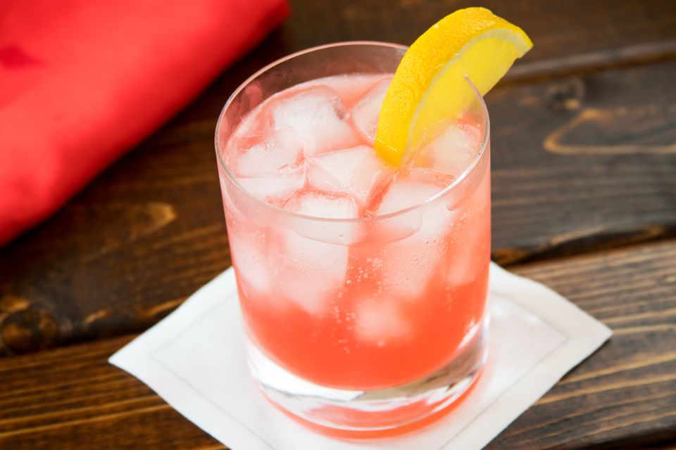 Red and Yellow Rum-Soda Mixed Drink