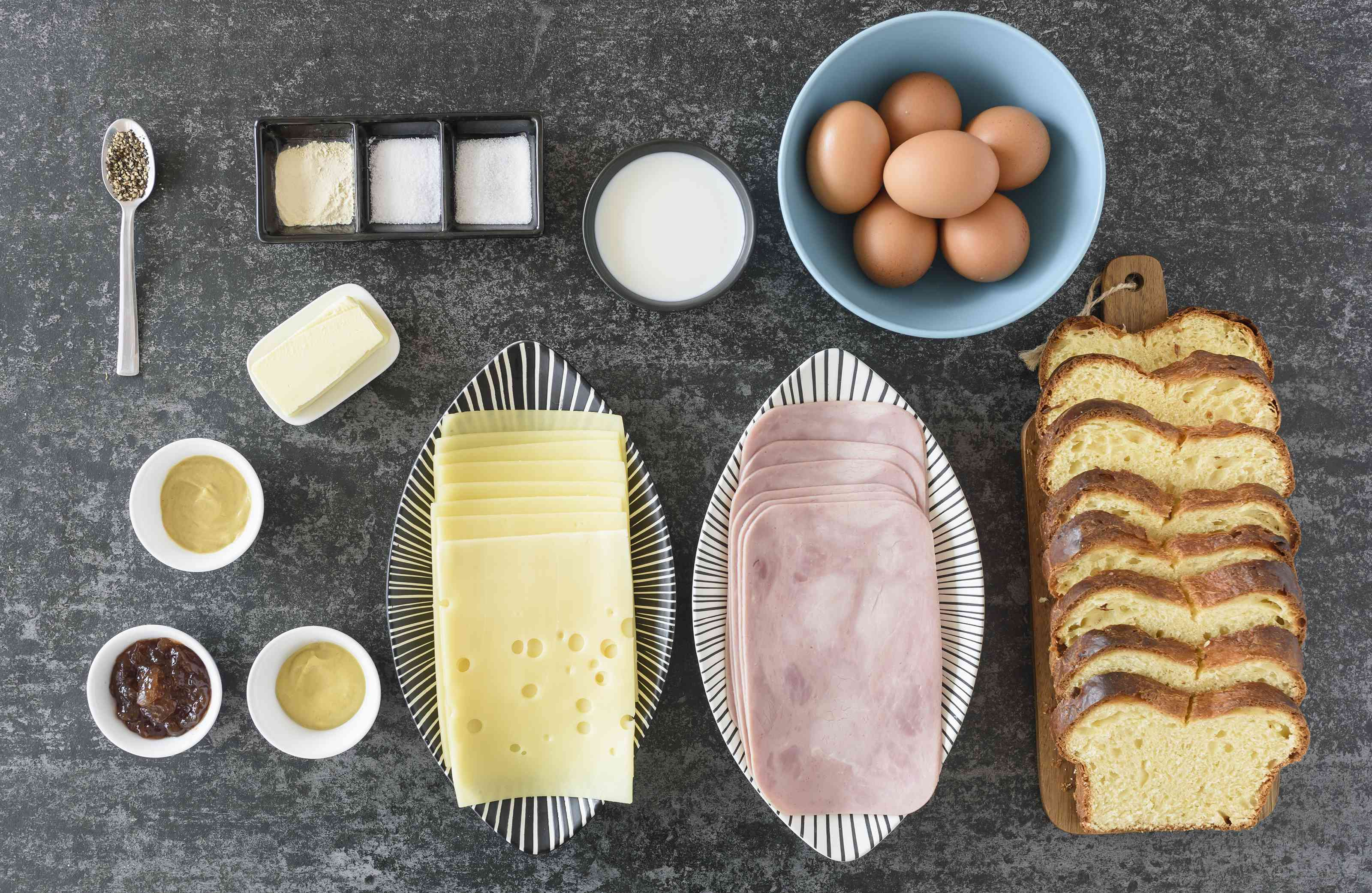 Ingredients for French toast grilled cheese