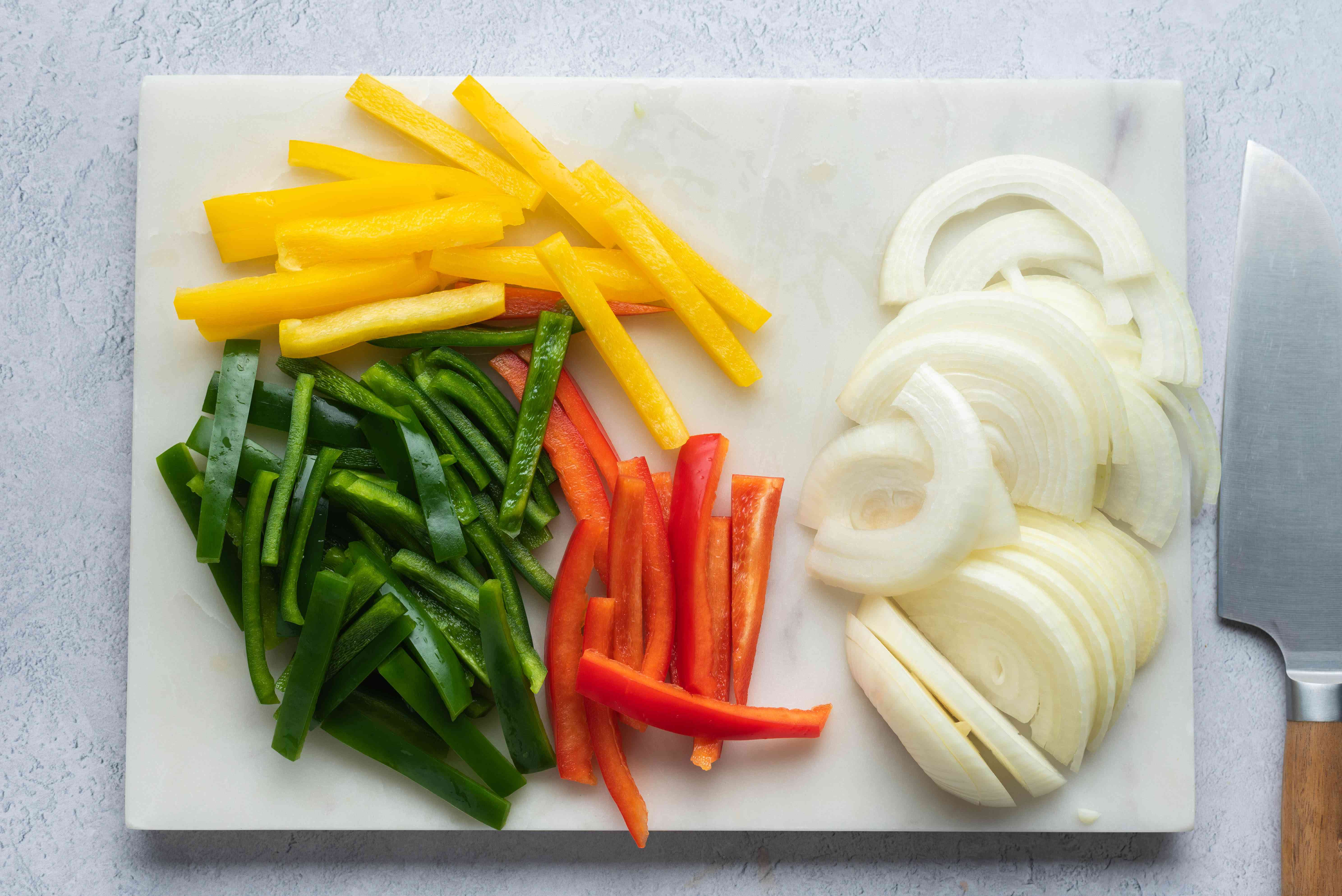Peppers and onions cut into pieces