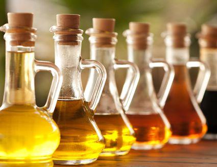 Vinegar in bottles on the table