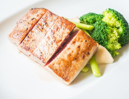Poached tuna steaks