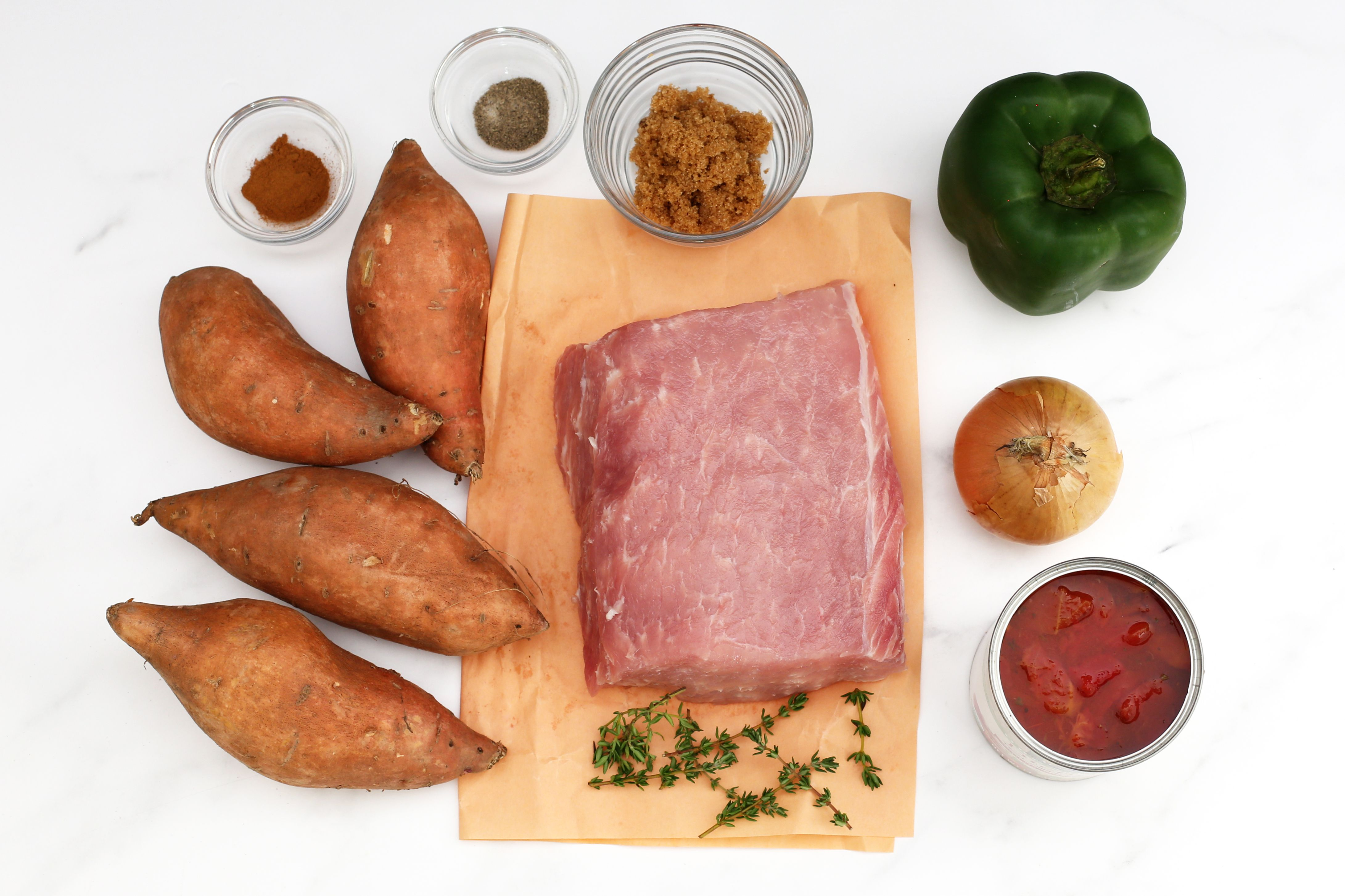 ingredients for crock pot pork and sweet potatoes