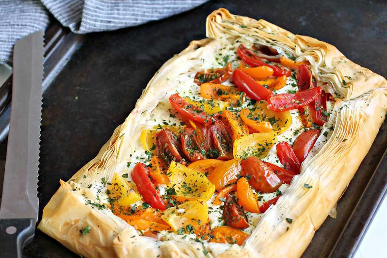 Tomato Tart with Filo and Feta Cream