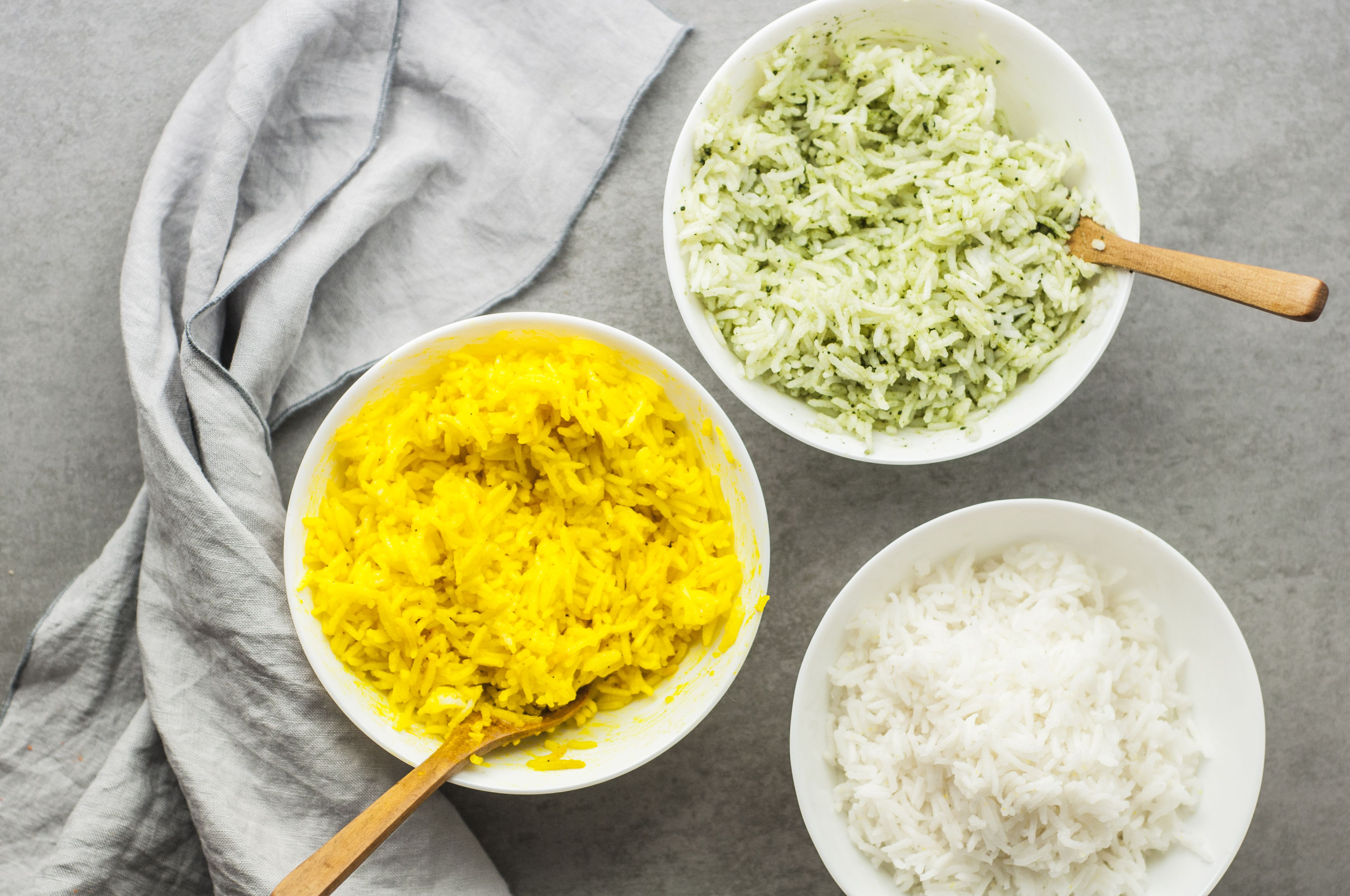 Mix rice with food coloring
