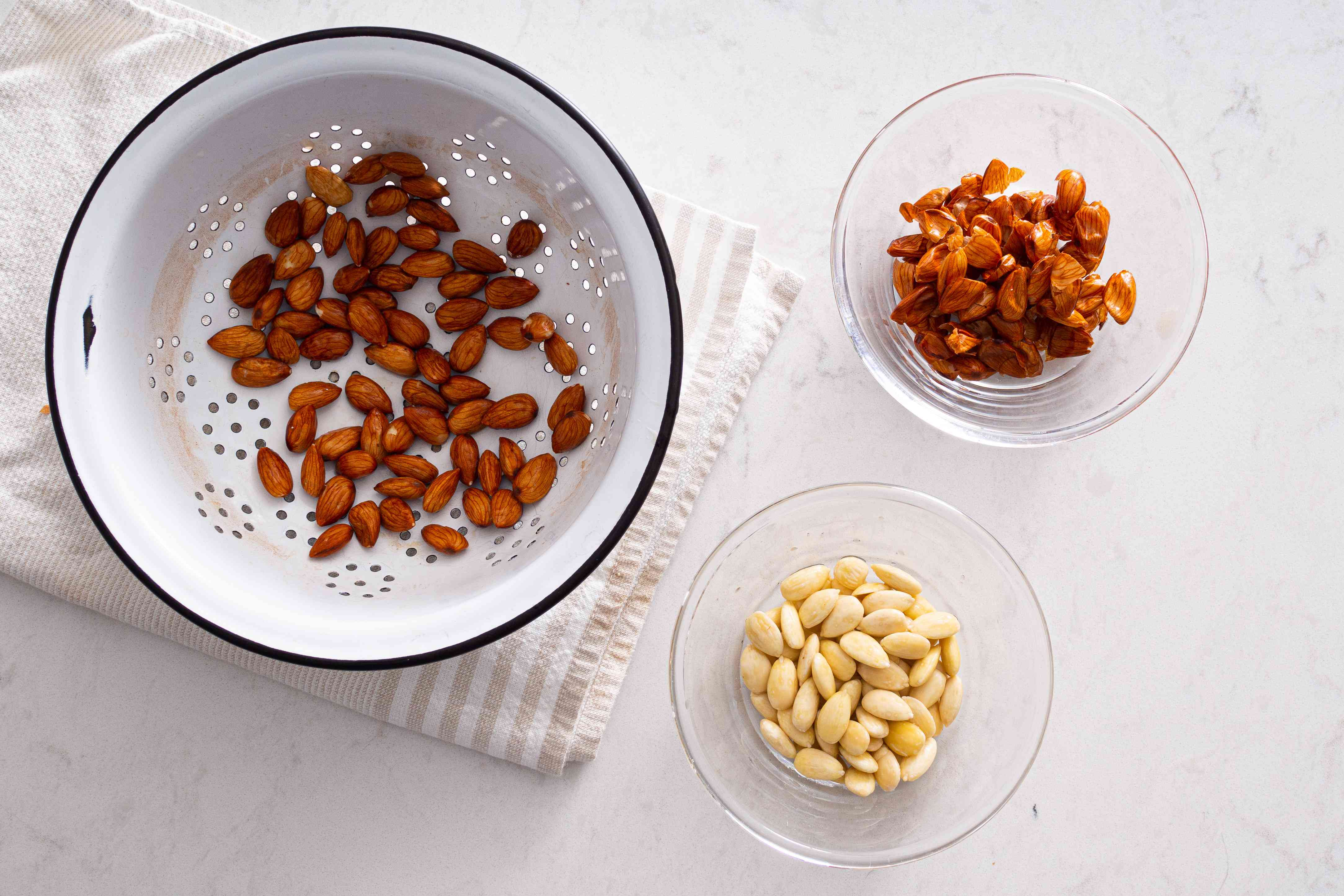 almonds with the peels removed