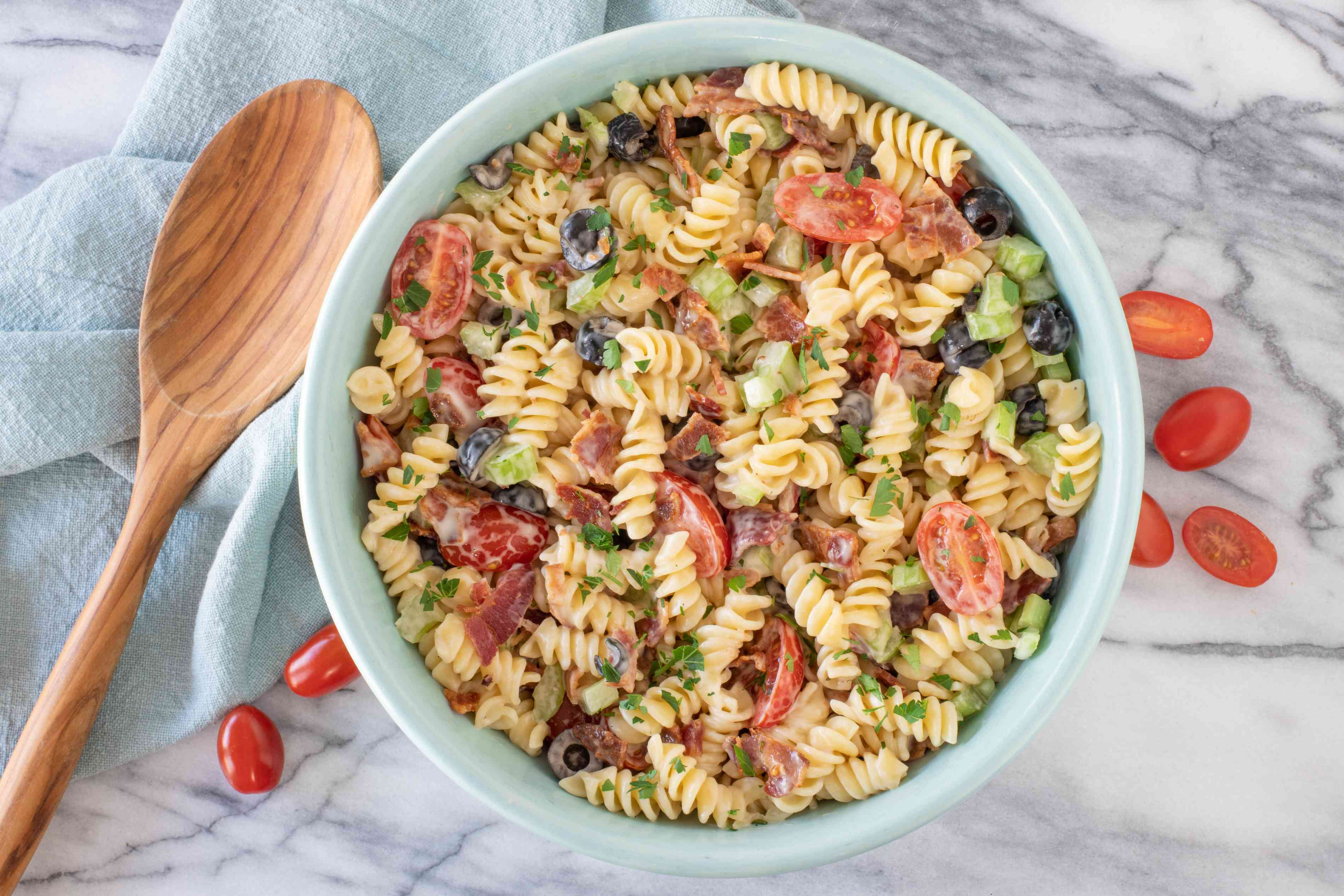 Bacon ranch pasta salad in a serving bowl.