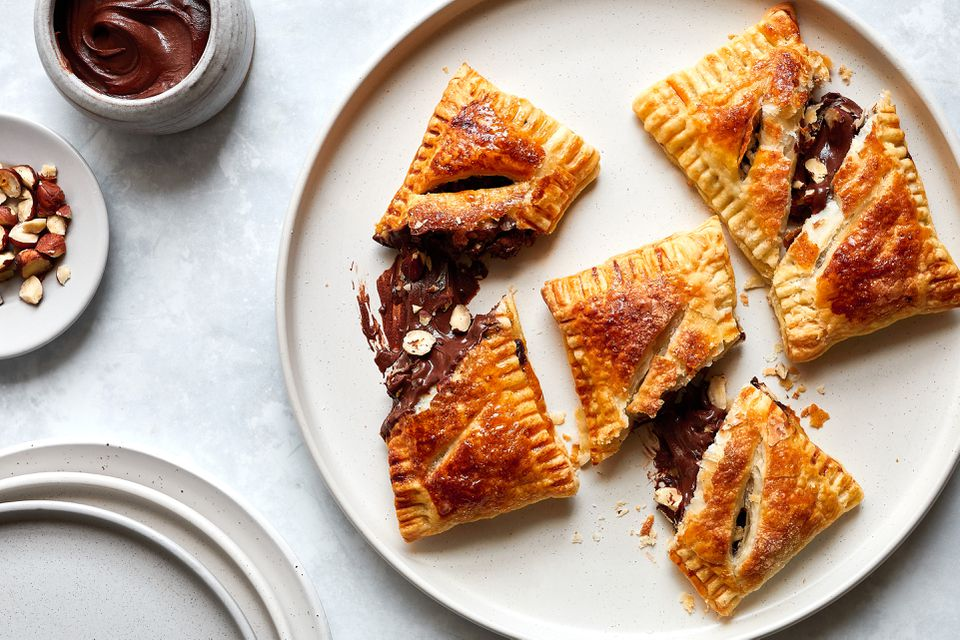 Nutella Pastry Puffs, pastries on a plate