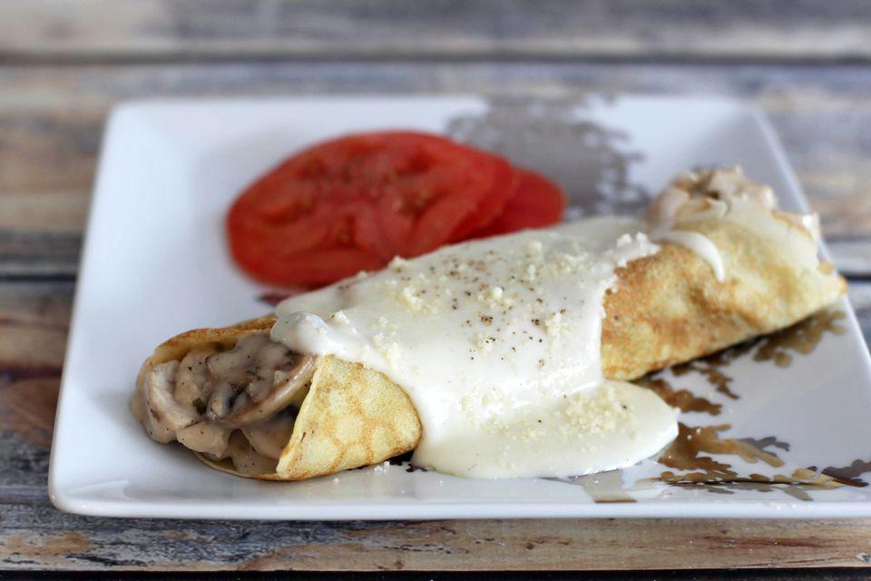 Turkey and Mushroom Crepes With Parmesan Sauce