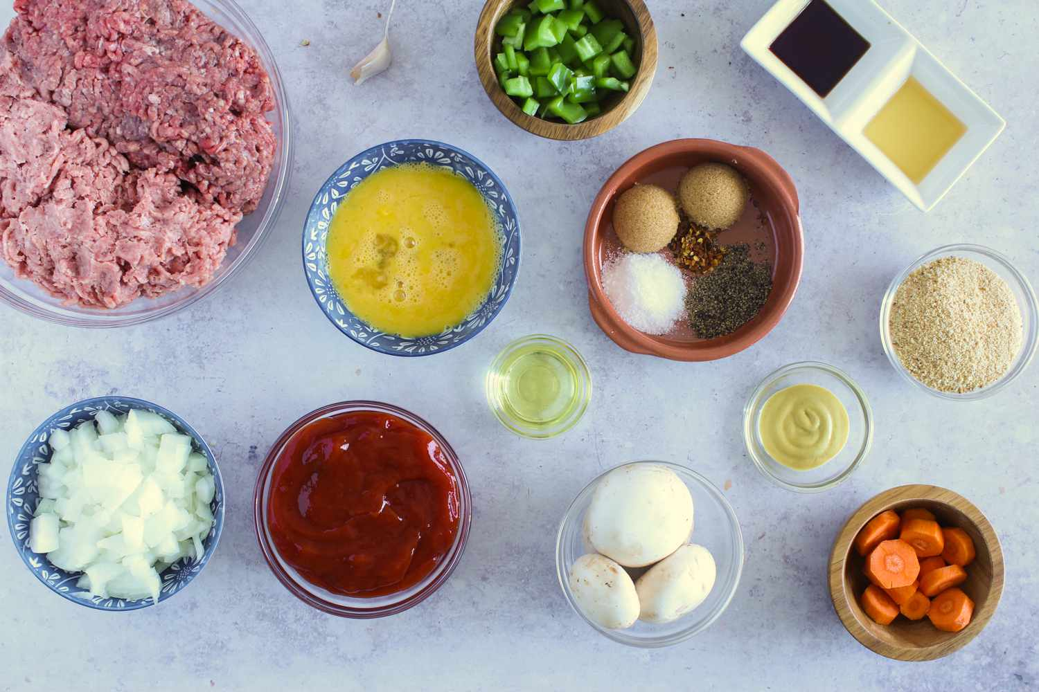 Ingredients for turkey and beef meatloaf