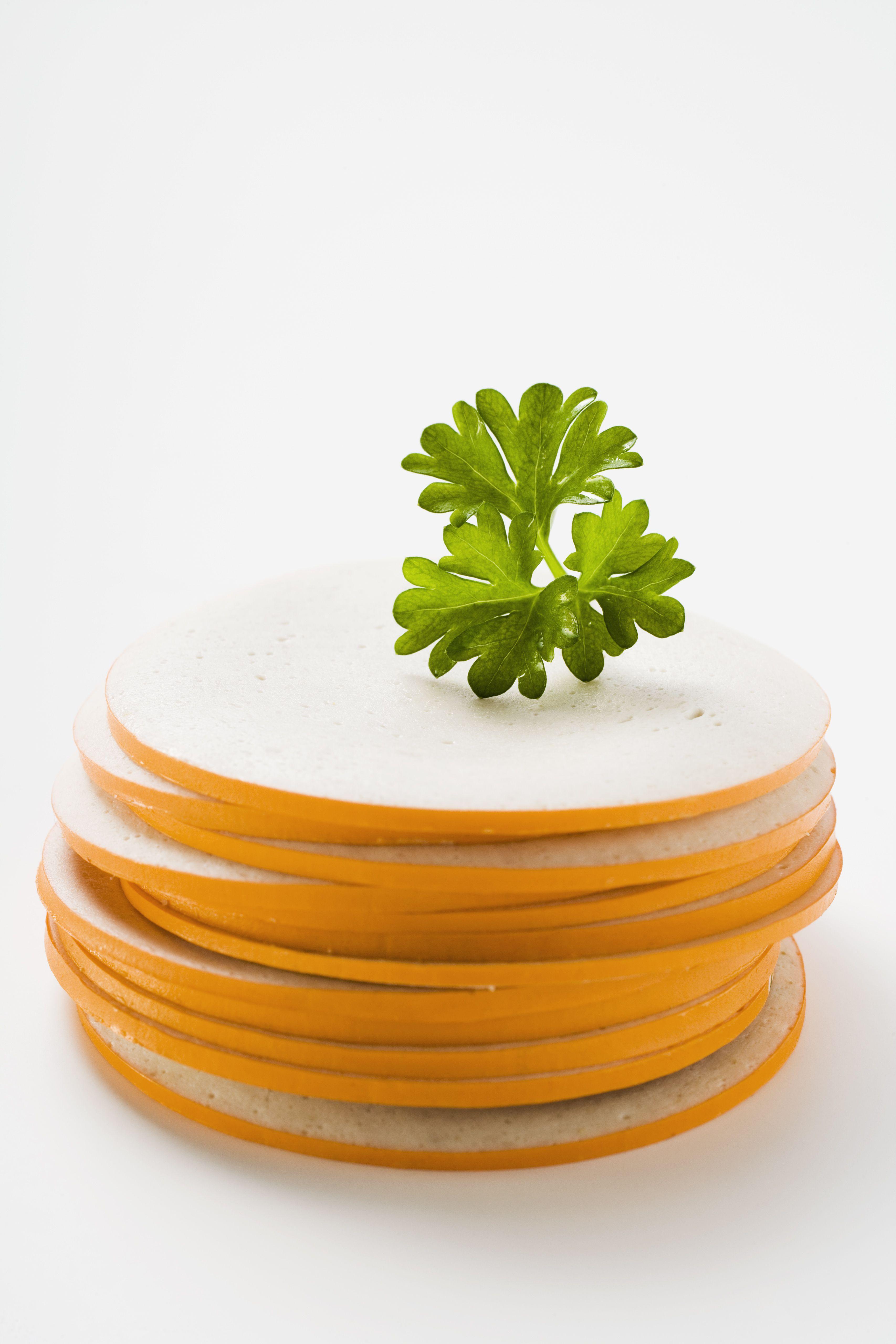 German Gelbwurst slices with parsley sprig