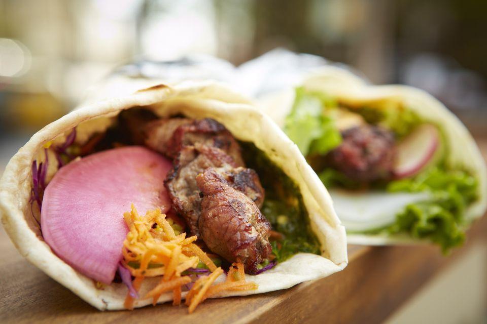 Middle eastern Lamb Kebab wrap on food truck