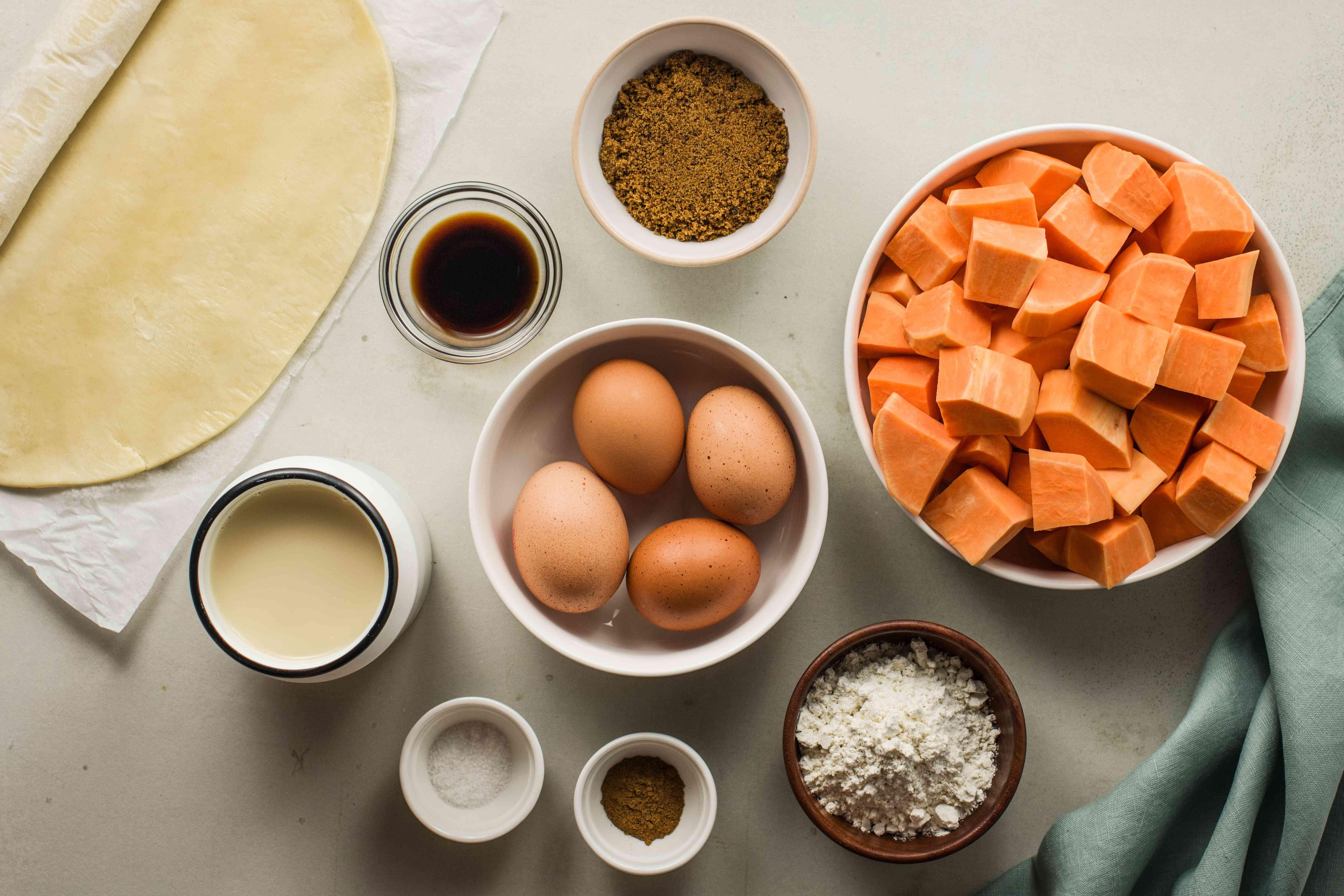 Ingredients for sweet potato pie