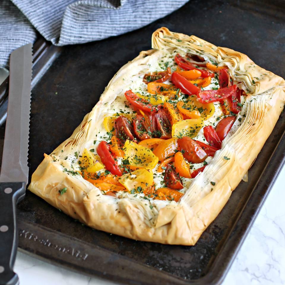 Tomato Tart with Fillo and Feta Cream