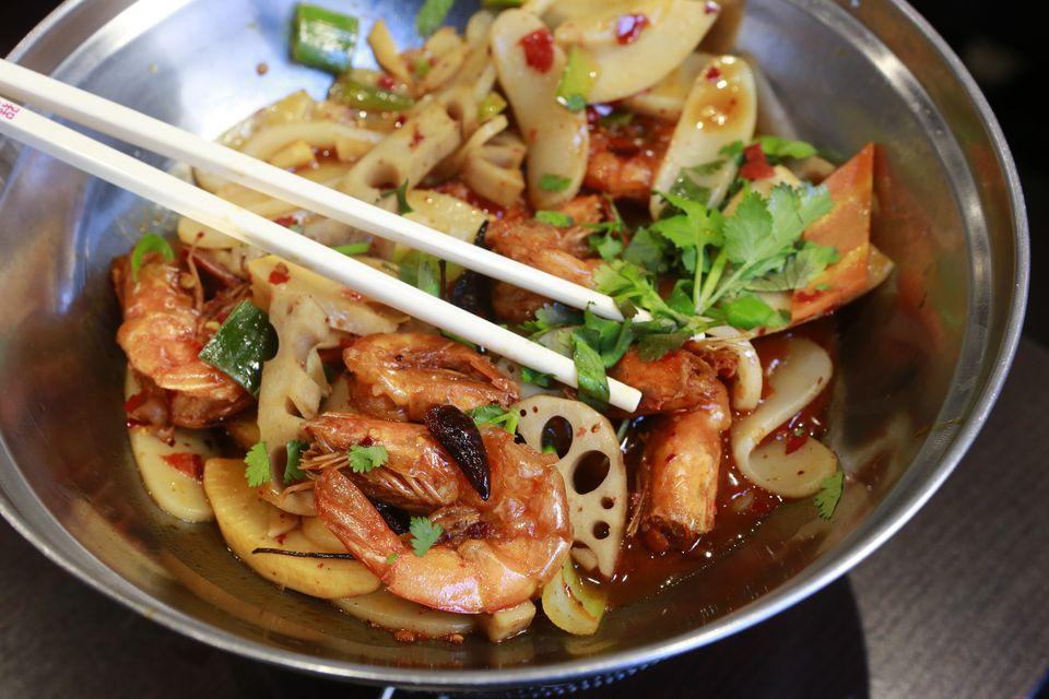 spicy shrimp, Chinese restaurant, Paris