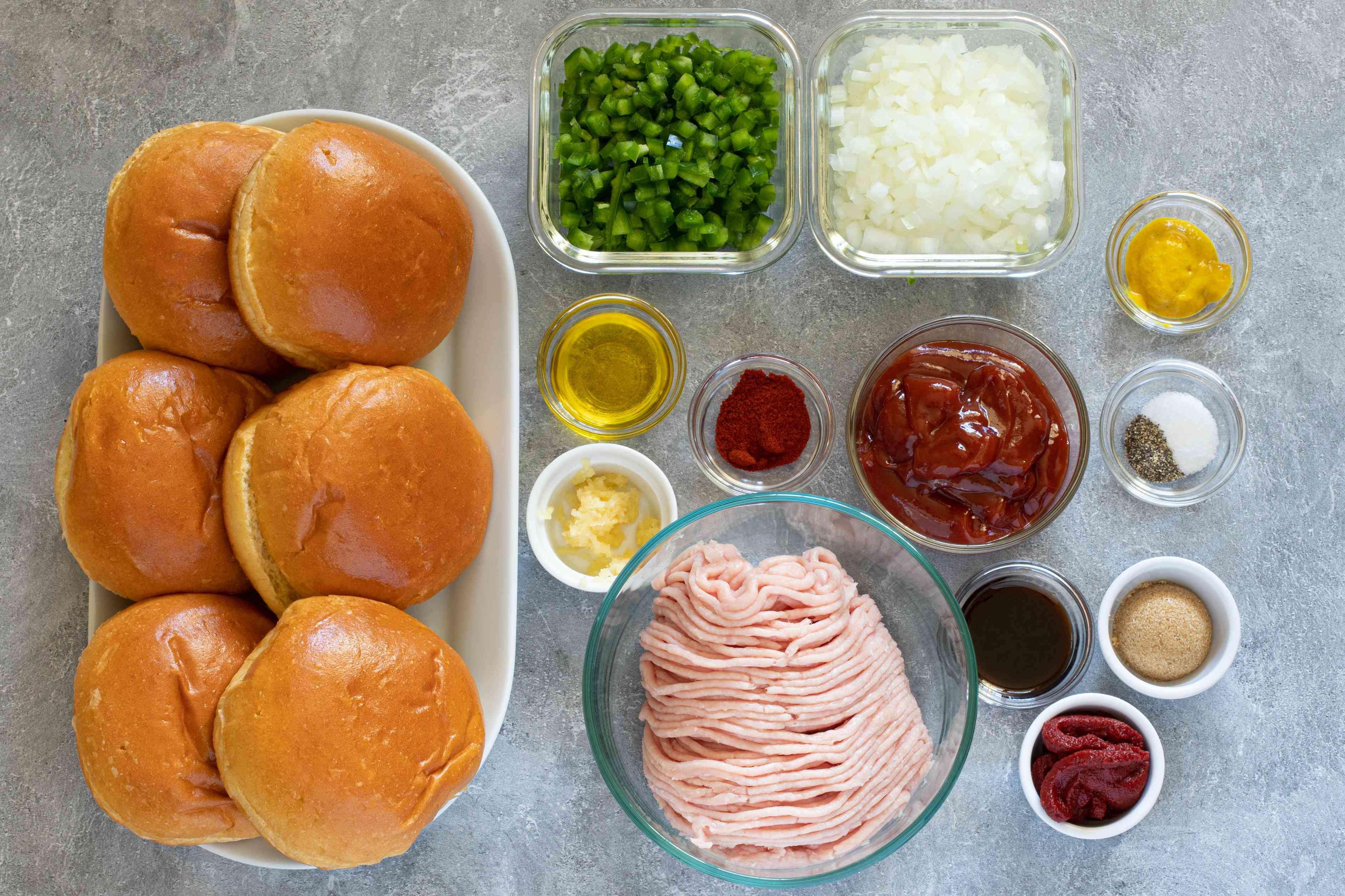 Ingredients for ground turkey sloppy joes