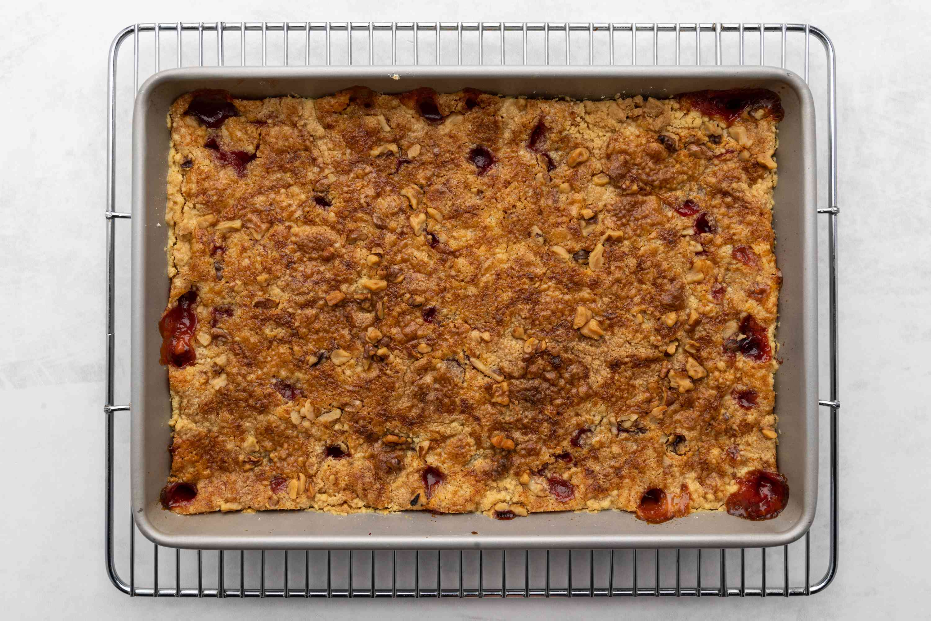 Pineapple Cherry Dump Cake (With Variations) on a cooling rack
