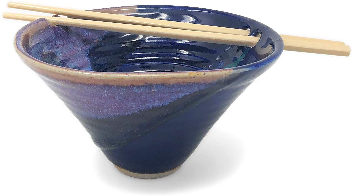 Larrabee Ceramics Handmade Noodle Bowl with Chopsticks