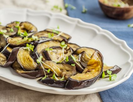 A platter with baked eggplant