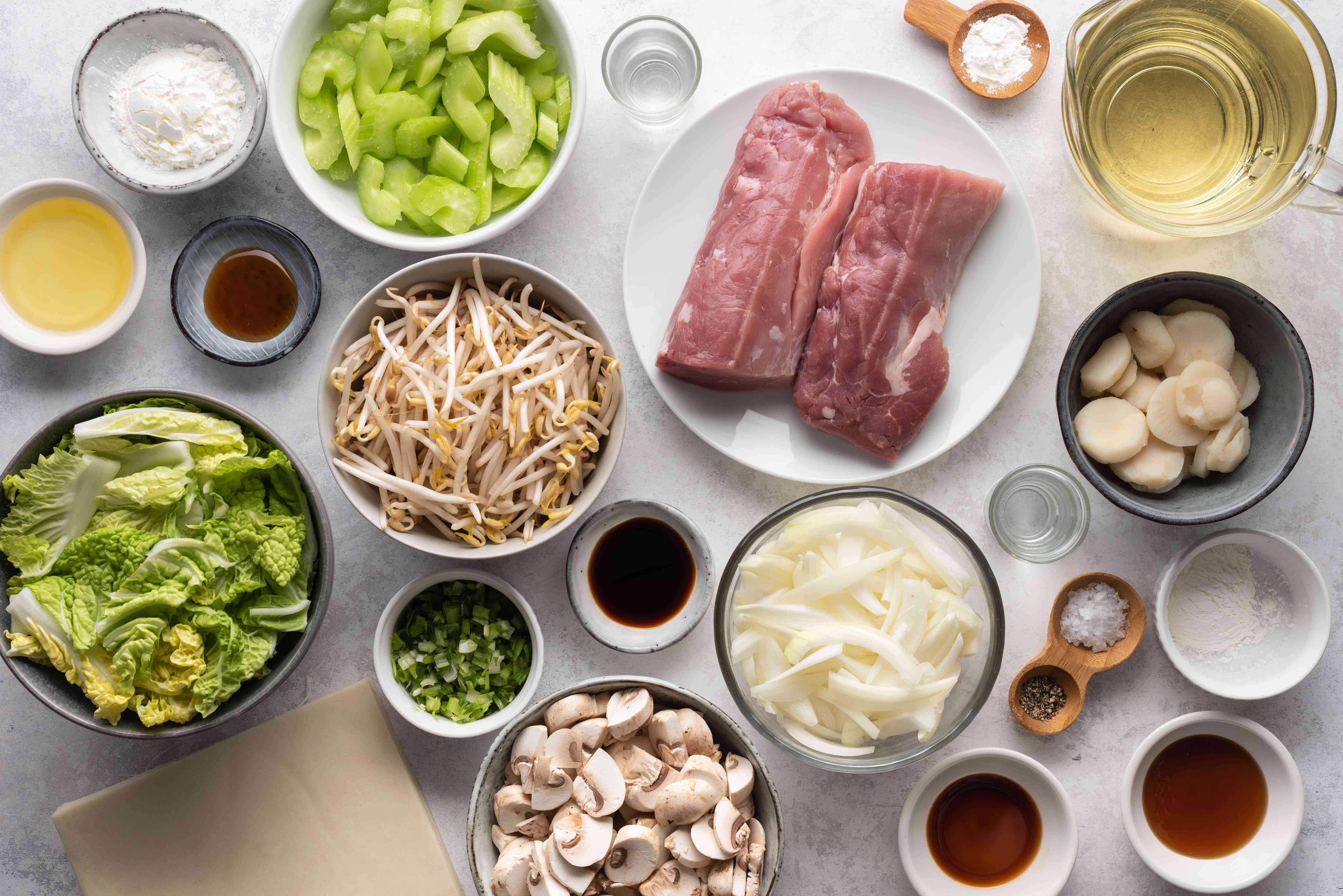 Cooking Chinese Egg Rolls ingredients