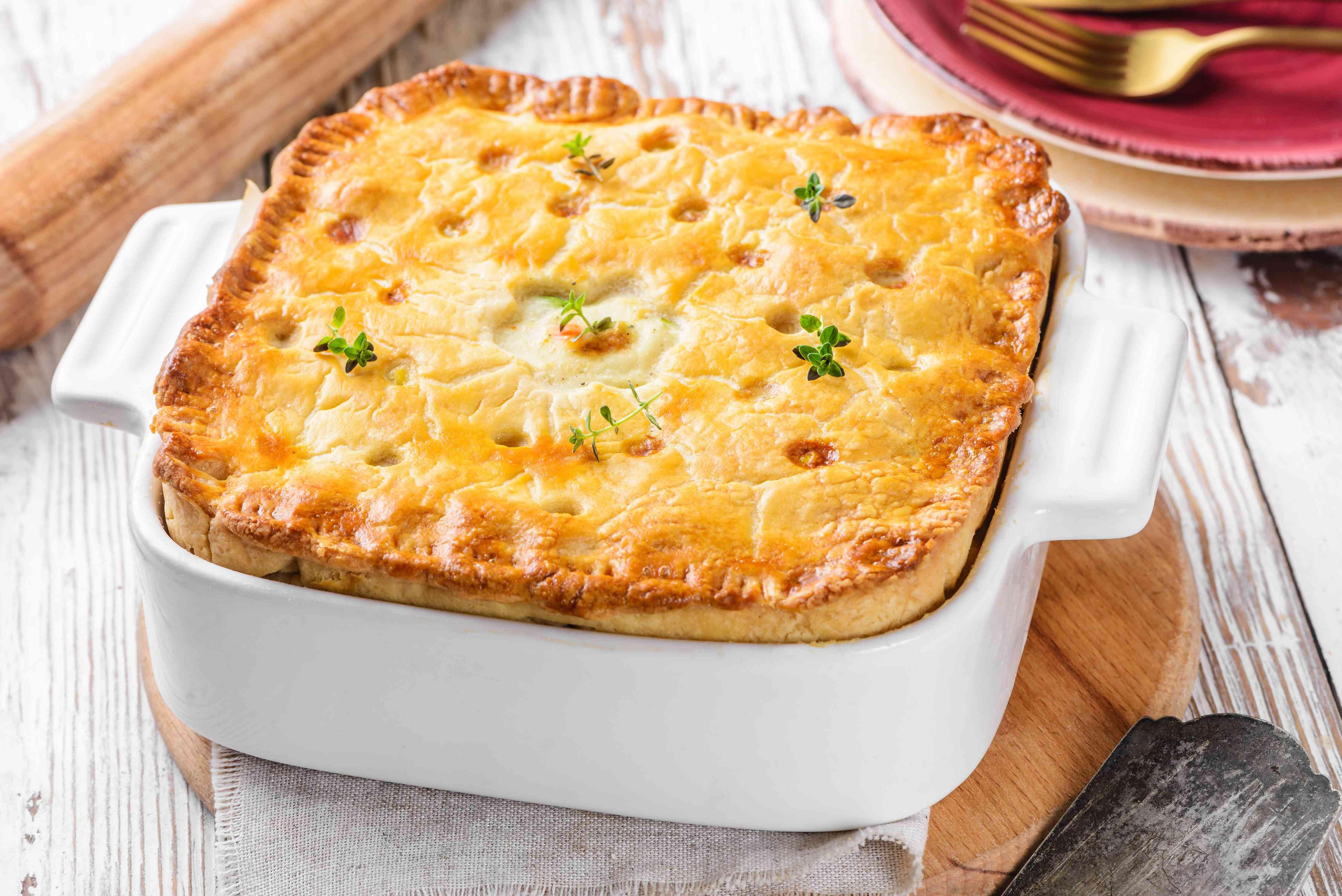 Turkey pot pie encased in pastry dough