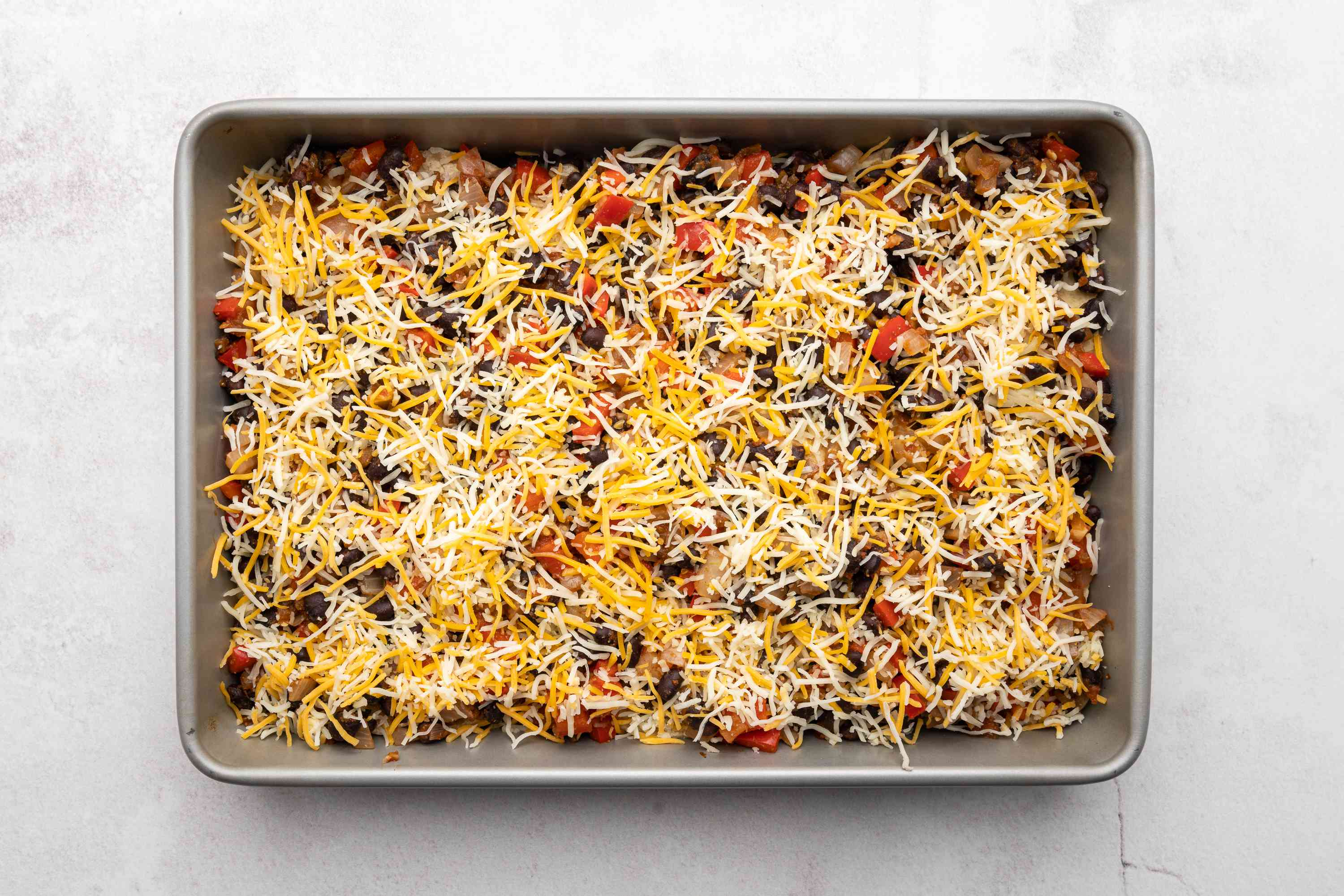 Vegetarian Mexican Casserole With Black Beans in a baking dish