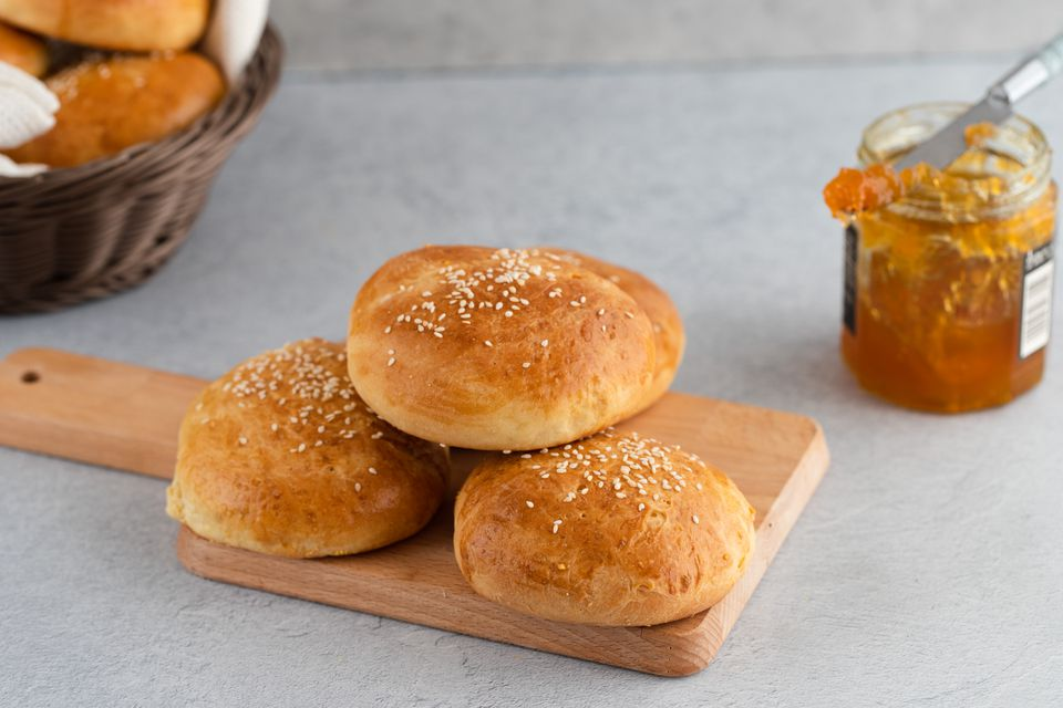 Rich homemade brioche buns